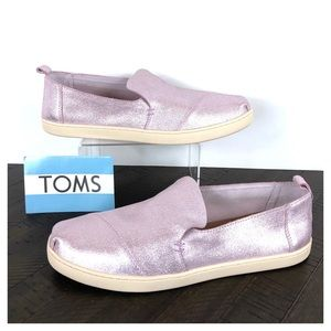 NEW TOMS Lavender Metallic Leather Slip-On Shoes